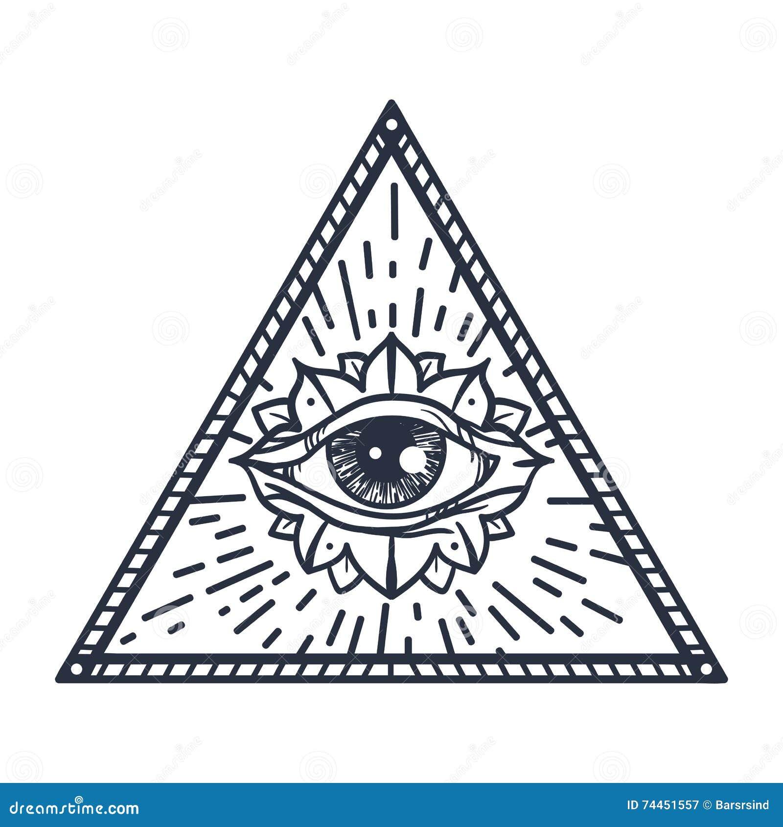 Tout L Oeil Voyant Dans La Triangle Illustration Stock