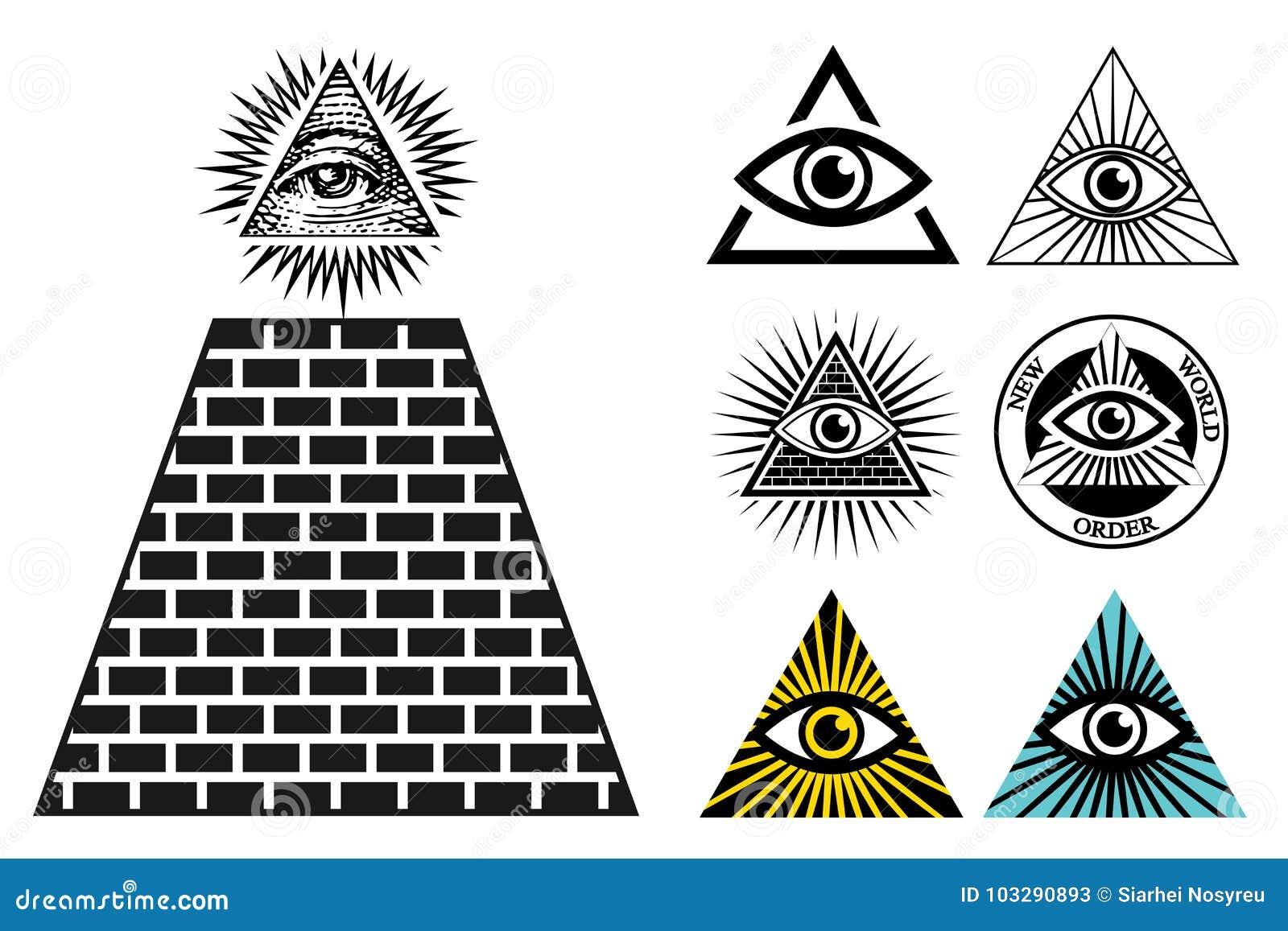 Toutes les icônes voyantes d oeil ont placé la pyramide Symbole d Illuminati
