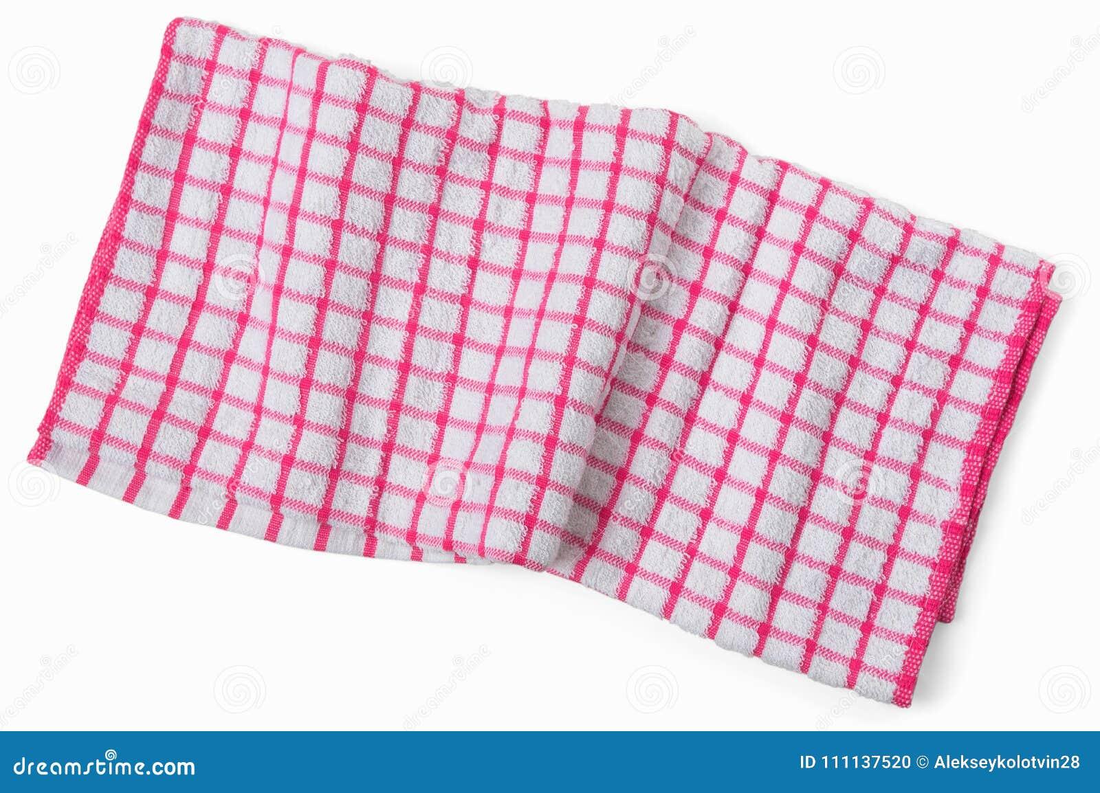 Tovagliolo a quadretti bianco rosso sgualcito della cucina Isolat trascurato dell asciugamano