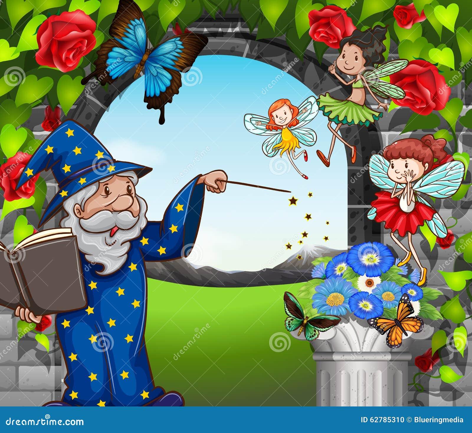 Tovenaar en fee n die in tuin vliegen vector illustratie for Vliegen in de tuin