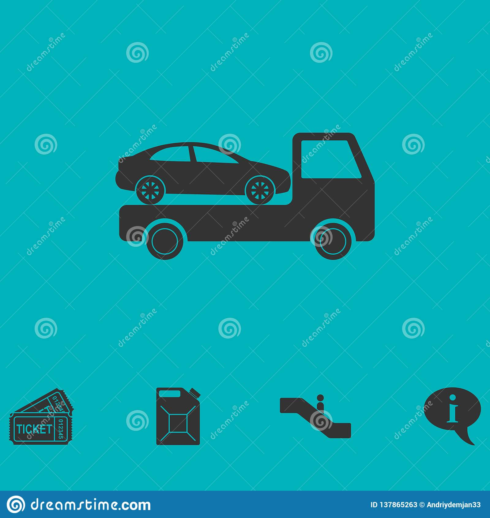 Tow car evacuation icon flat