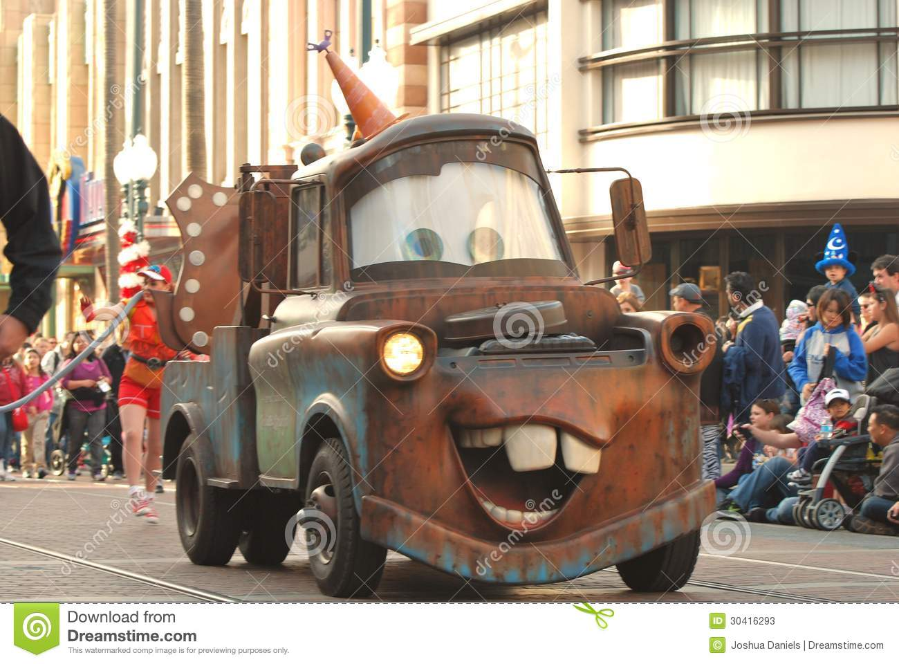 Tow Mater From The Pixar Movie Cars In A Parade At Disneyland California Editorial Stock Photo