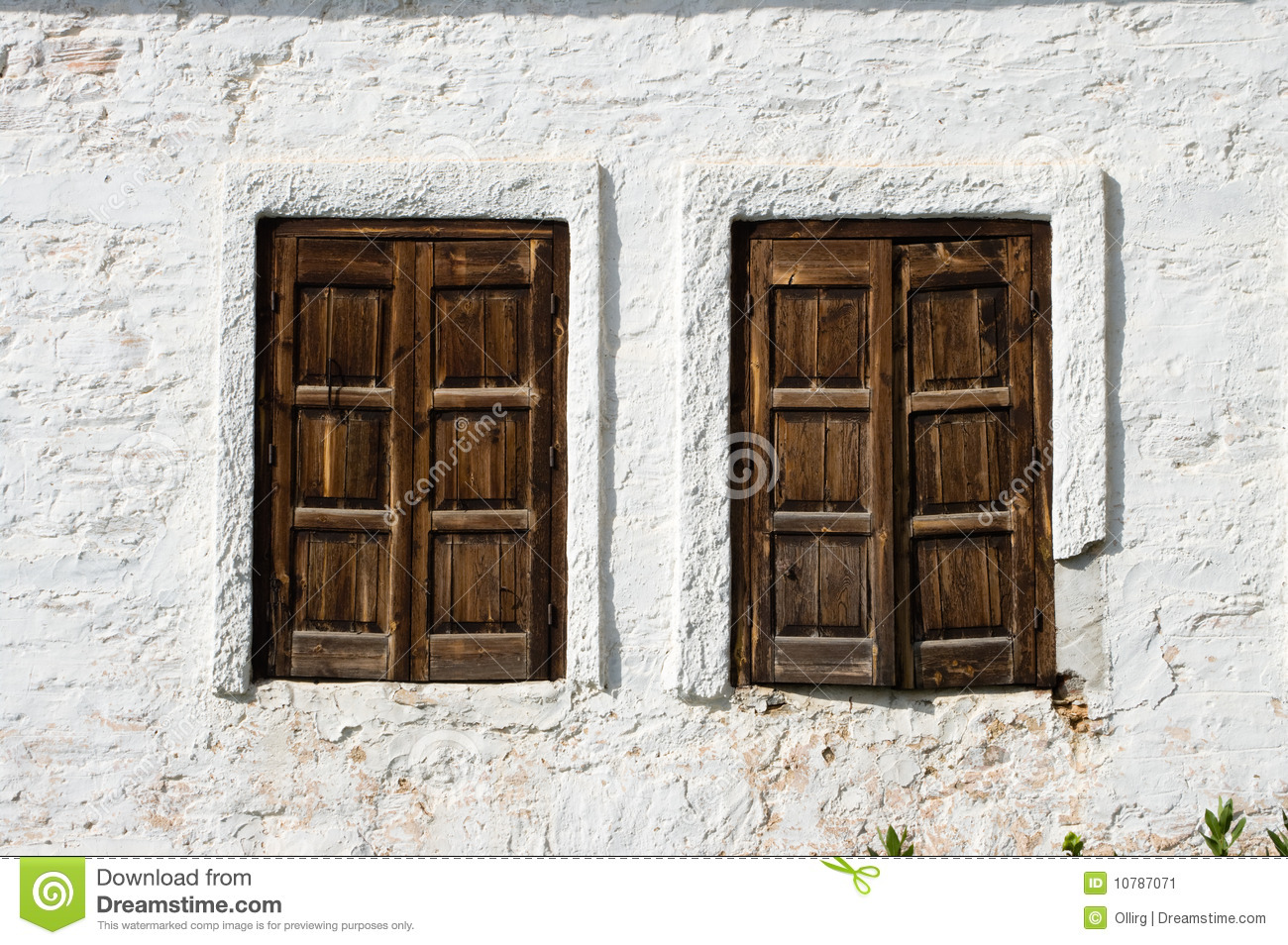 Tow Rustic Windows Wooden Closed Stock Image Image 10787071