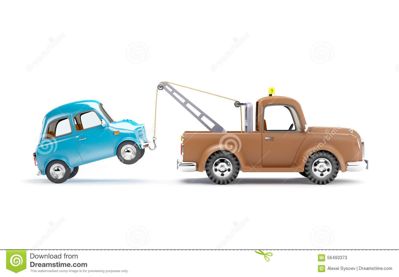 Tow Truck And Car Side View Stock Illustration