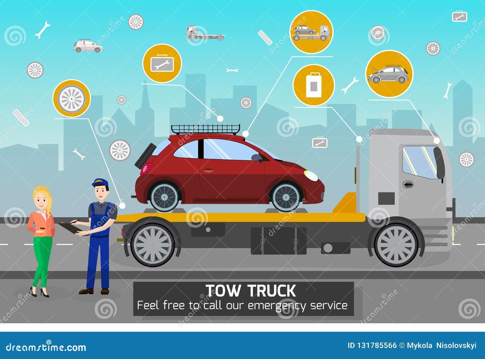 Tow Truck e motorista Services Ilustração do vetor