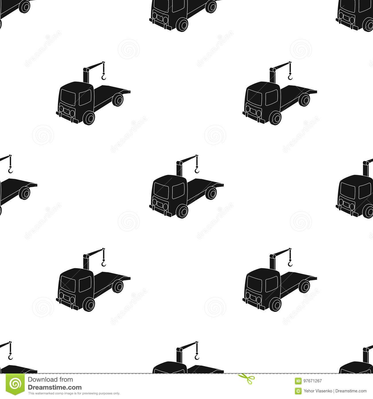 Tow Truck Icon In Black Style Isolated On White Background Parking