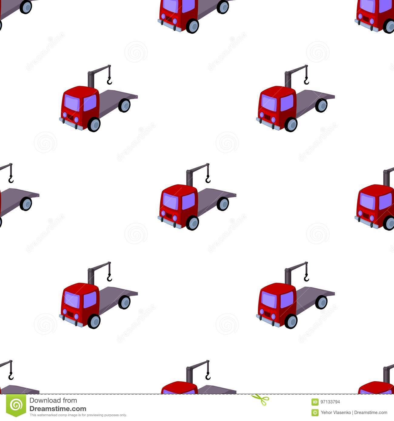 Tow Truck Icon In Cartoon Style Isolated On White Background Stock