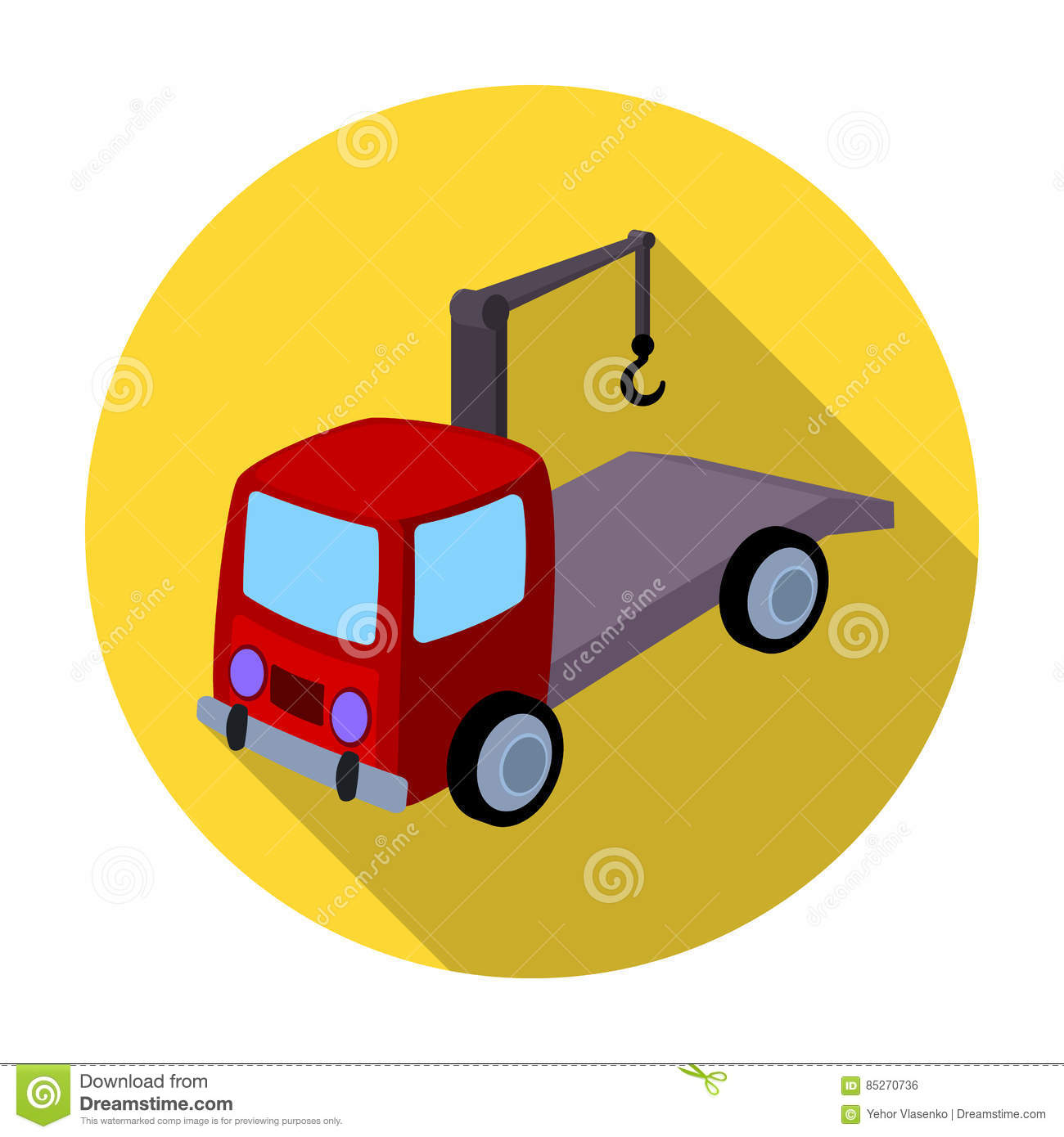 Tow Truck Icon In Flat Style Isolated On White Background Parking