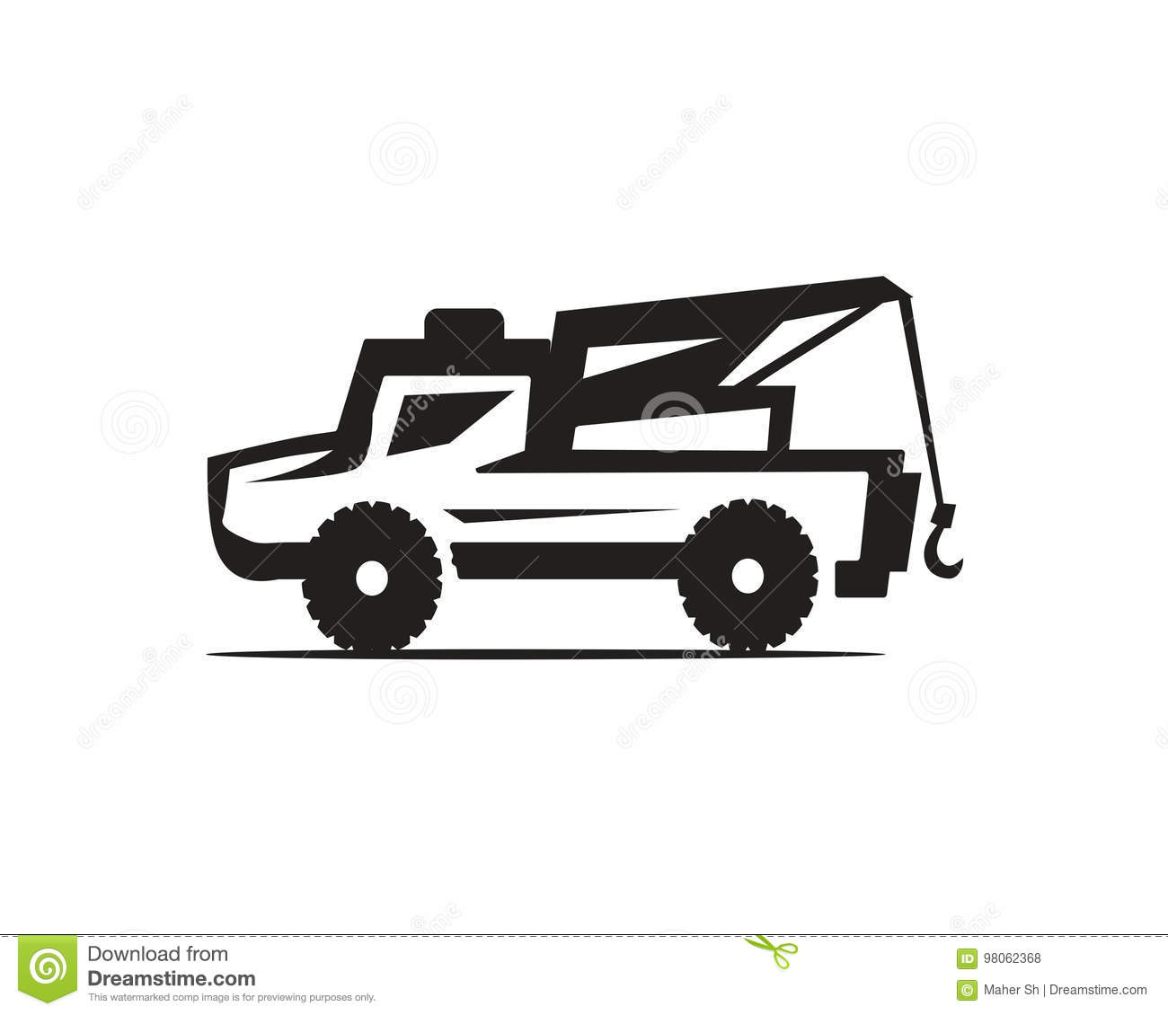 Tow Truck Icon Stock Vector Illustration Of Symbol Dark 98062368