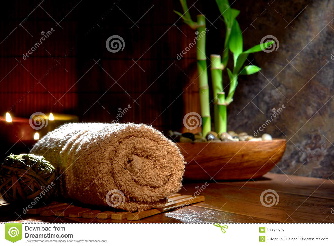 Towel and Bamboo in a Meditation and Wellness Spa