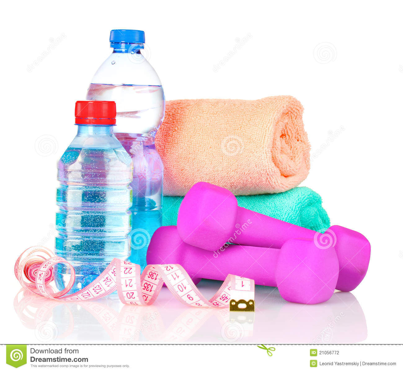 Sweat Towel Water Bottle: Towel, Dumbbells And Water Bottle Stock Photography