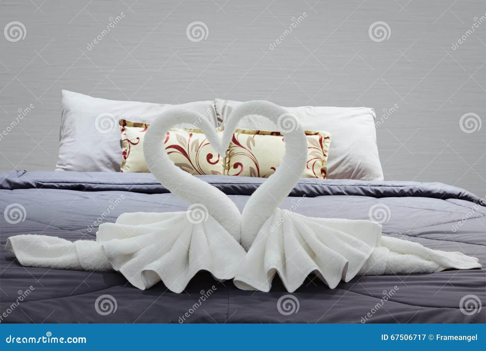 Towel Folded In Swan Heart Shape Stock Image