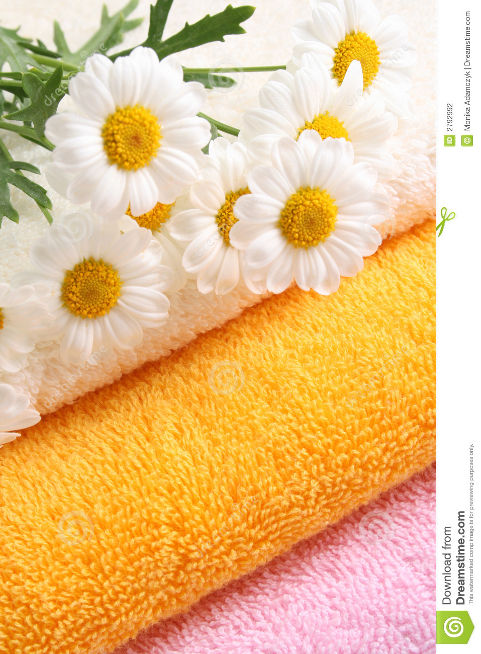 Download Towels stock photo. Image of marigolds, flowers, bath - 2792992