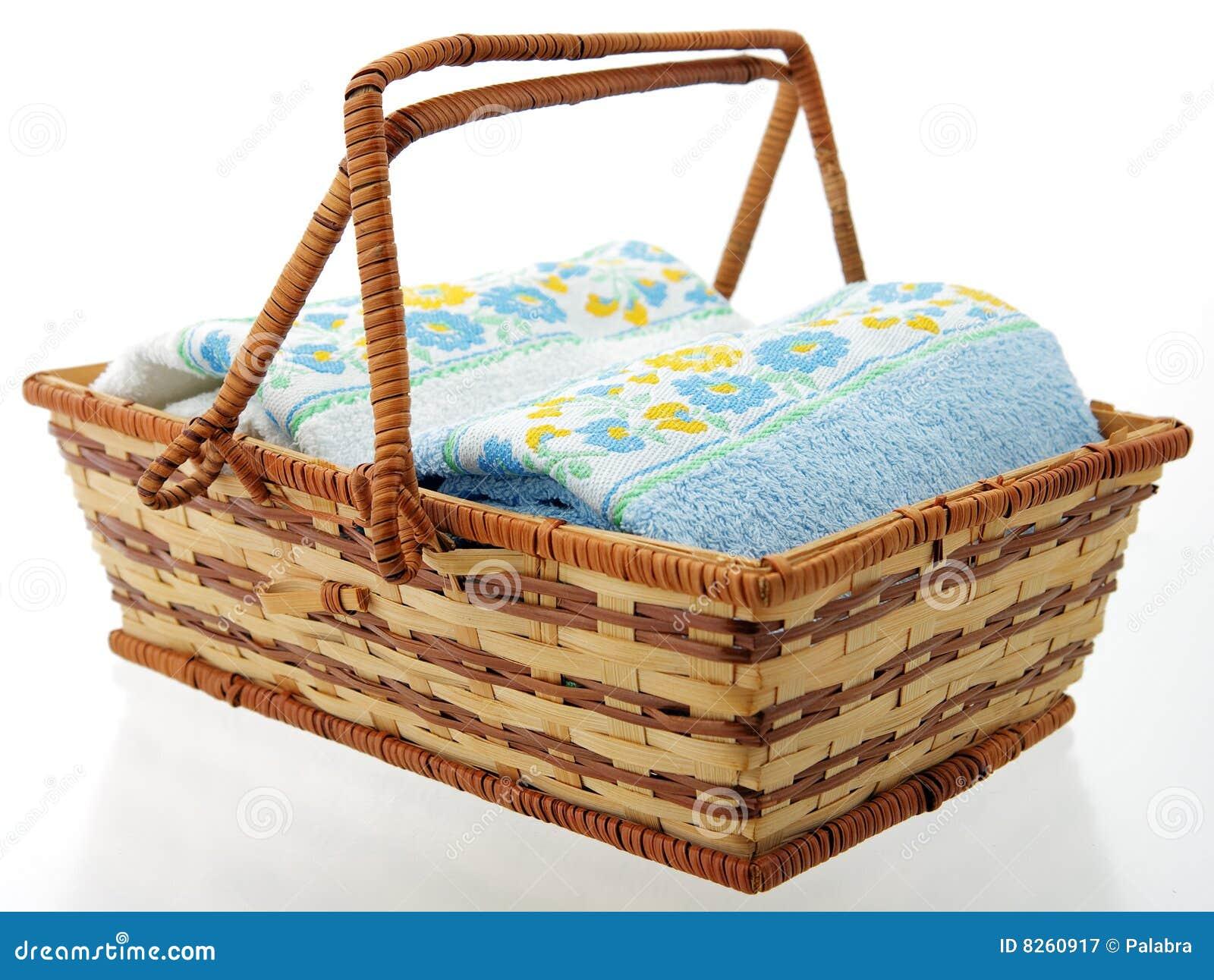 Towel Art Basket : Towels in basket royalty free stock photography image