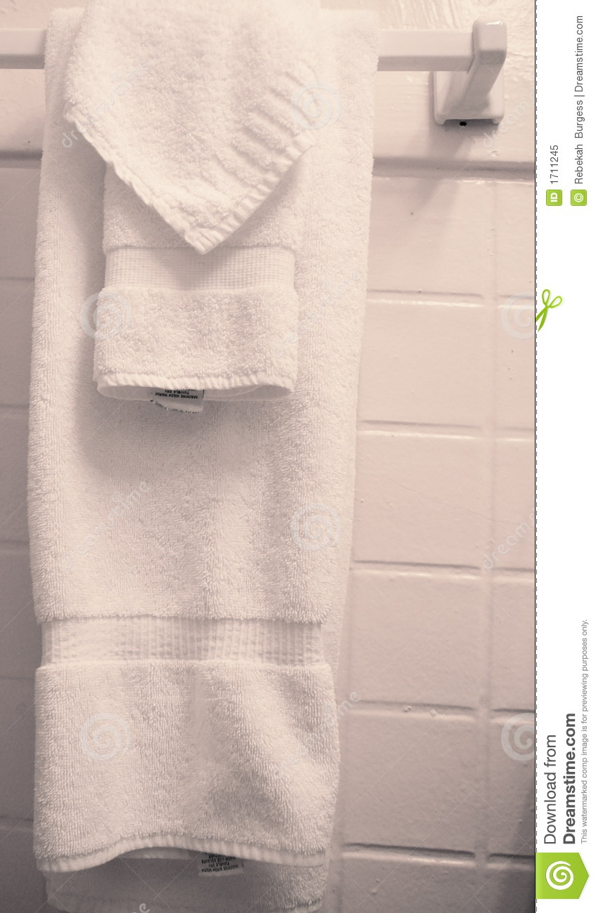 Towels Hanging In Bathroom Stock Image Image Of Domestic 1711245