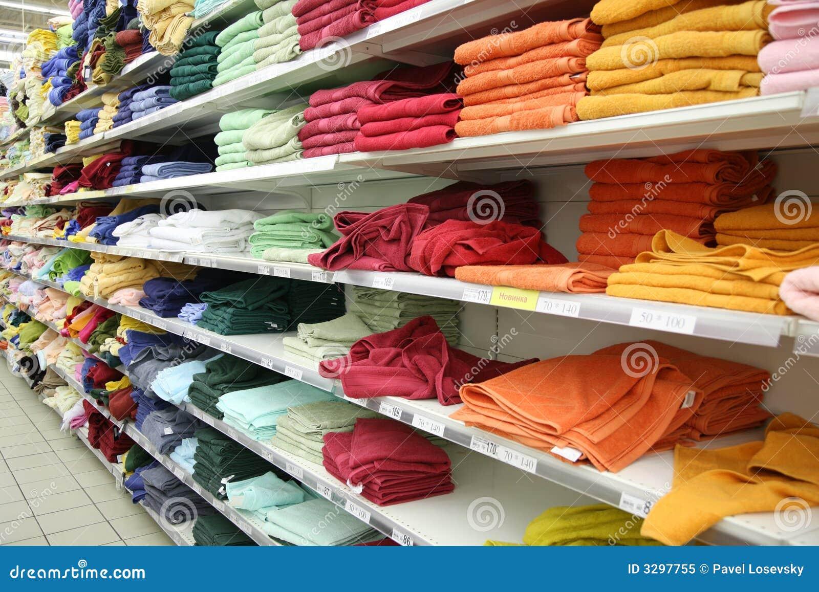 Towels in shop stock image. Image of shelf, gift, market ...