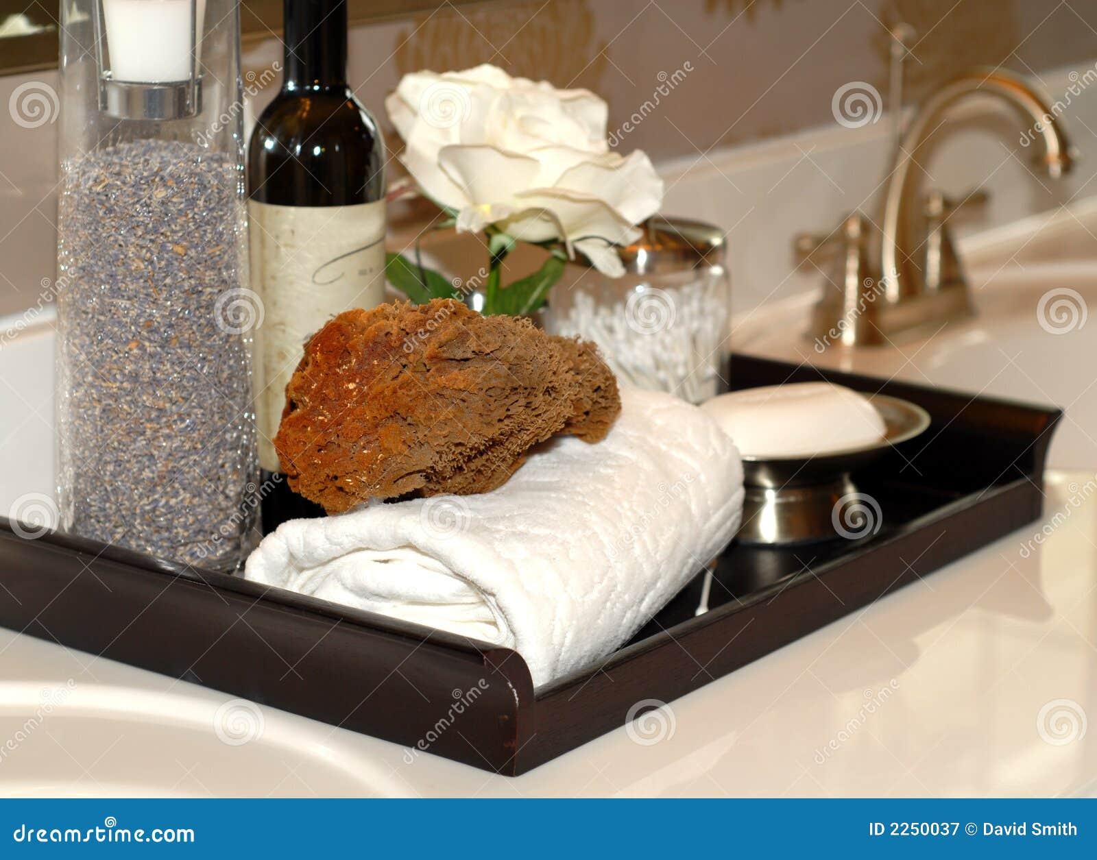 Towels, soap, sponges