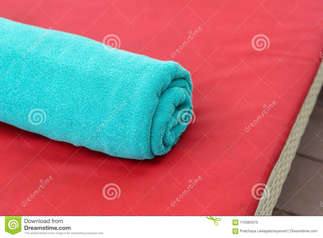 Towels On A Sun-bed Near A Swimming Pool. Stock Image ...