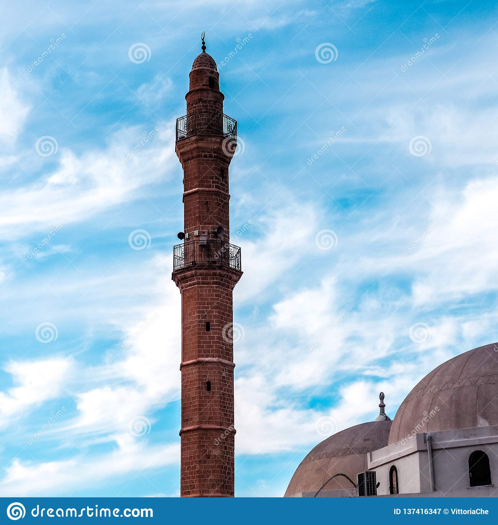 Tower of Bahr Mosque or Sea Mosque in Old city of Jaffa, Israel. It is the oldest extant mosque in Jaffa, Israel