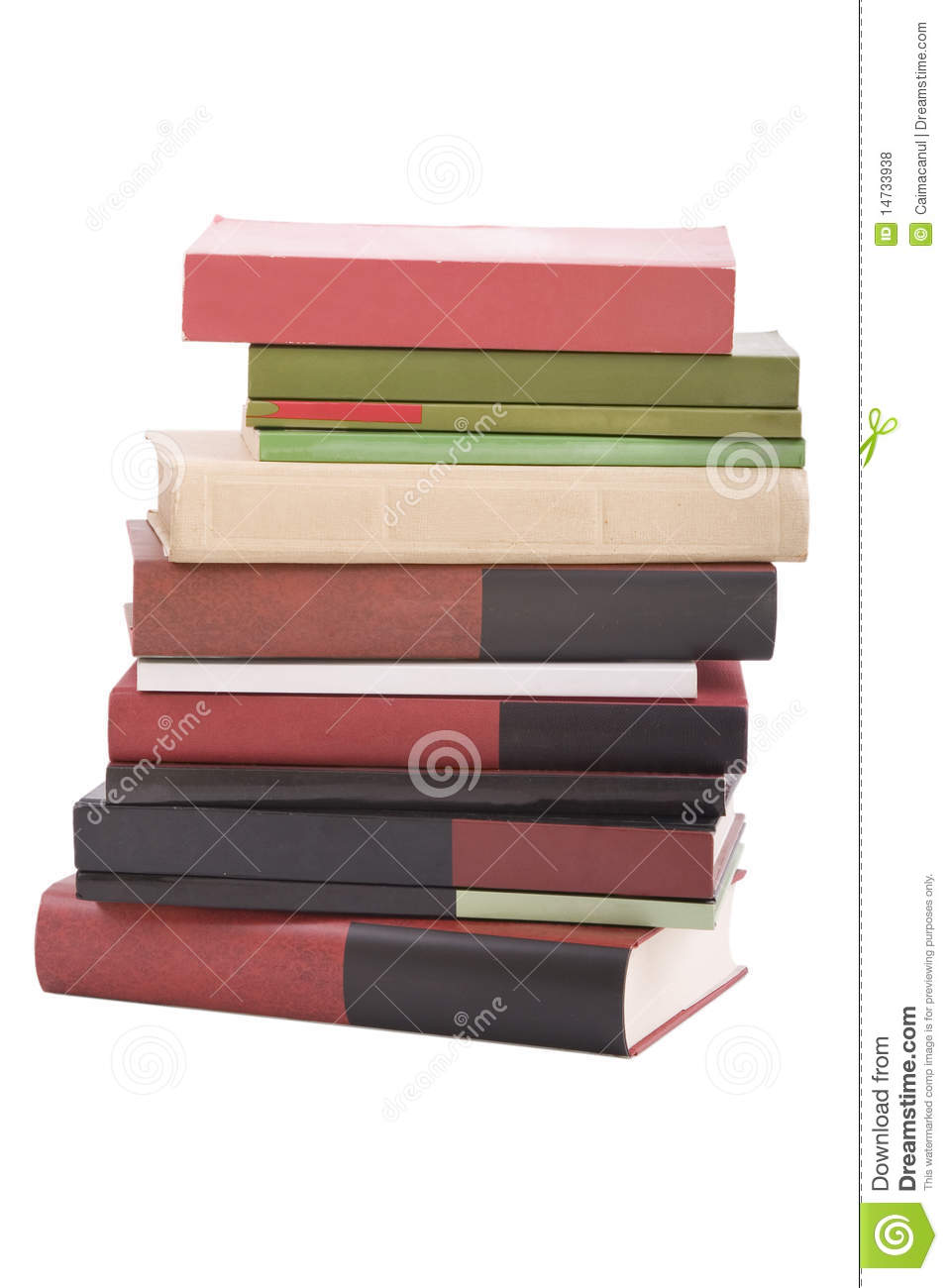 Tower books arranged in stack