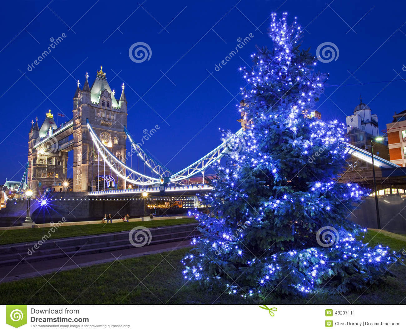 Tower Bridge And Christmas Tree In London Stock Photo ...