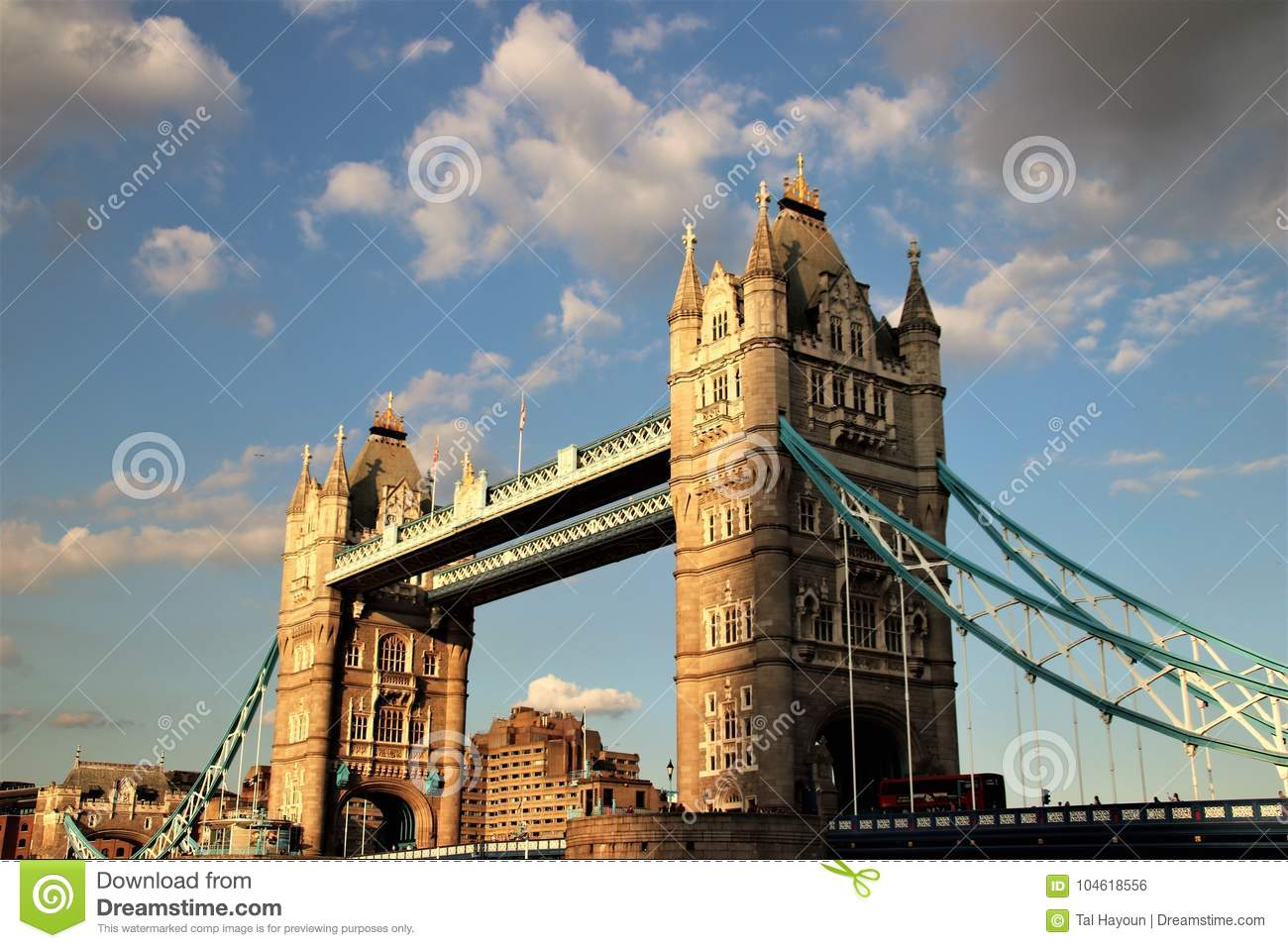 Tower Bridge A Famous Icon Of The City London UK On River Thames From An Angle With Cloudy Sky