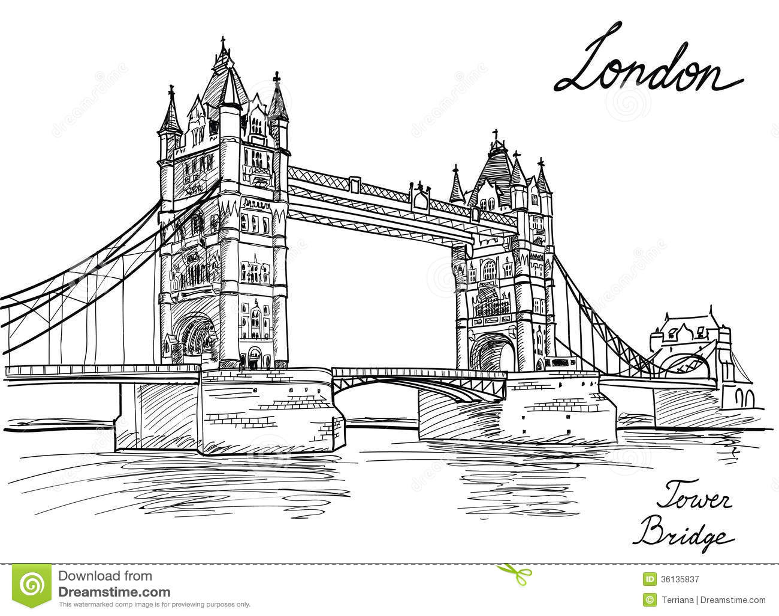 Tower Bridge, London, England, UK. Stock Illustration