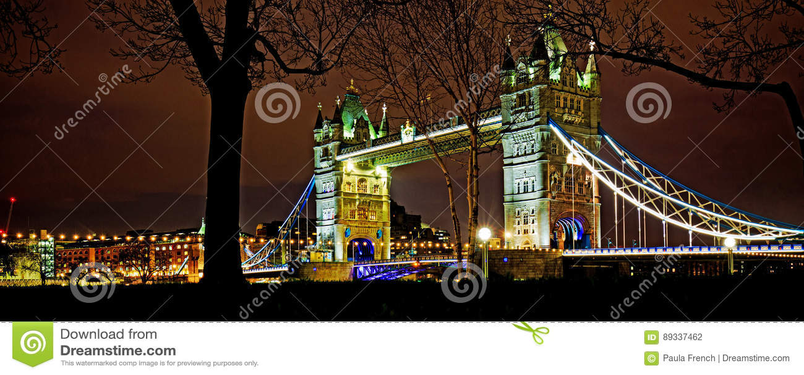 Tower Bridge in London illuminated at night