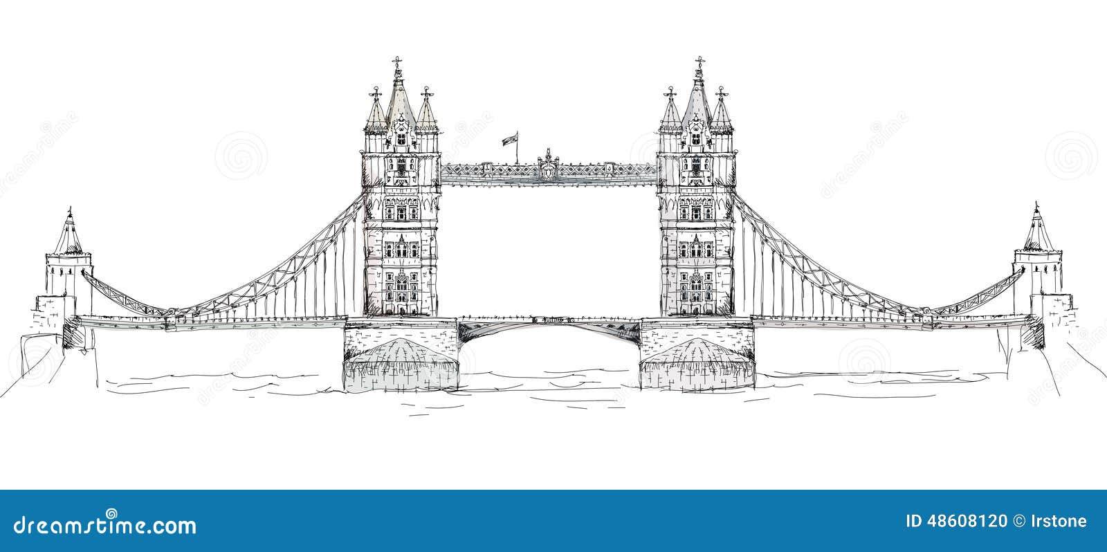 london tower bridge drawing sketch coloring page