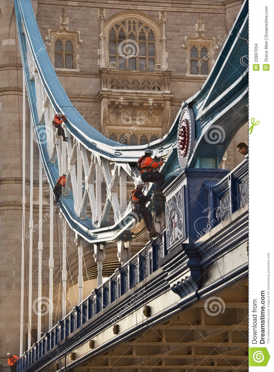 Maintenance work on the iconic landmark of tower bridge over the river