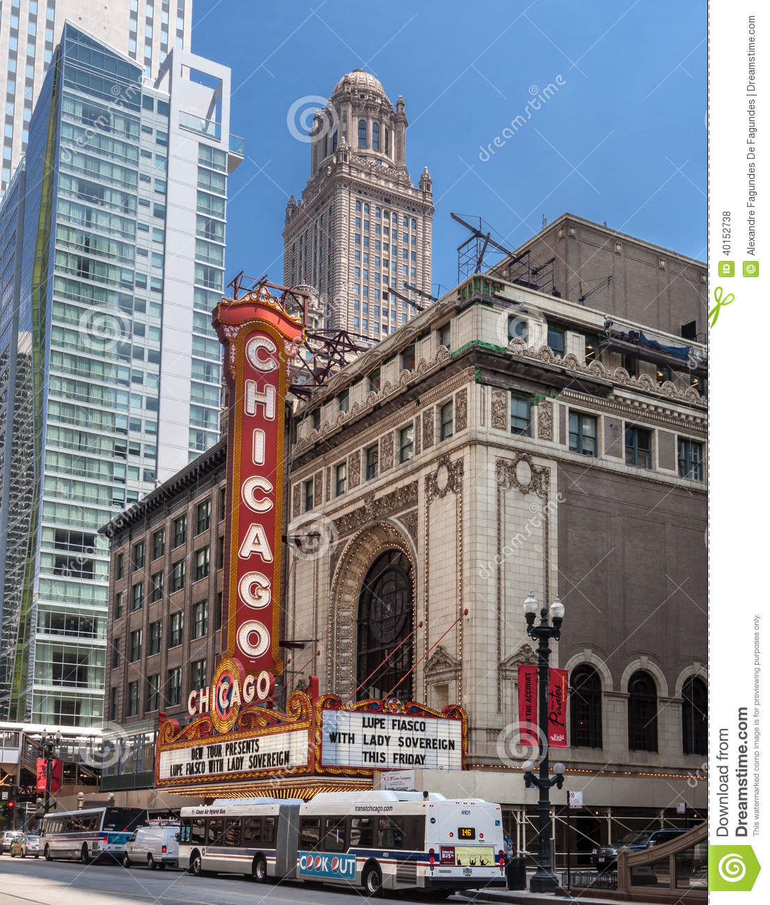 Tower Building Chicago Theater Illinois Editorial Image