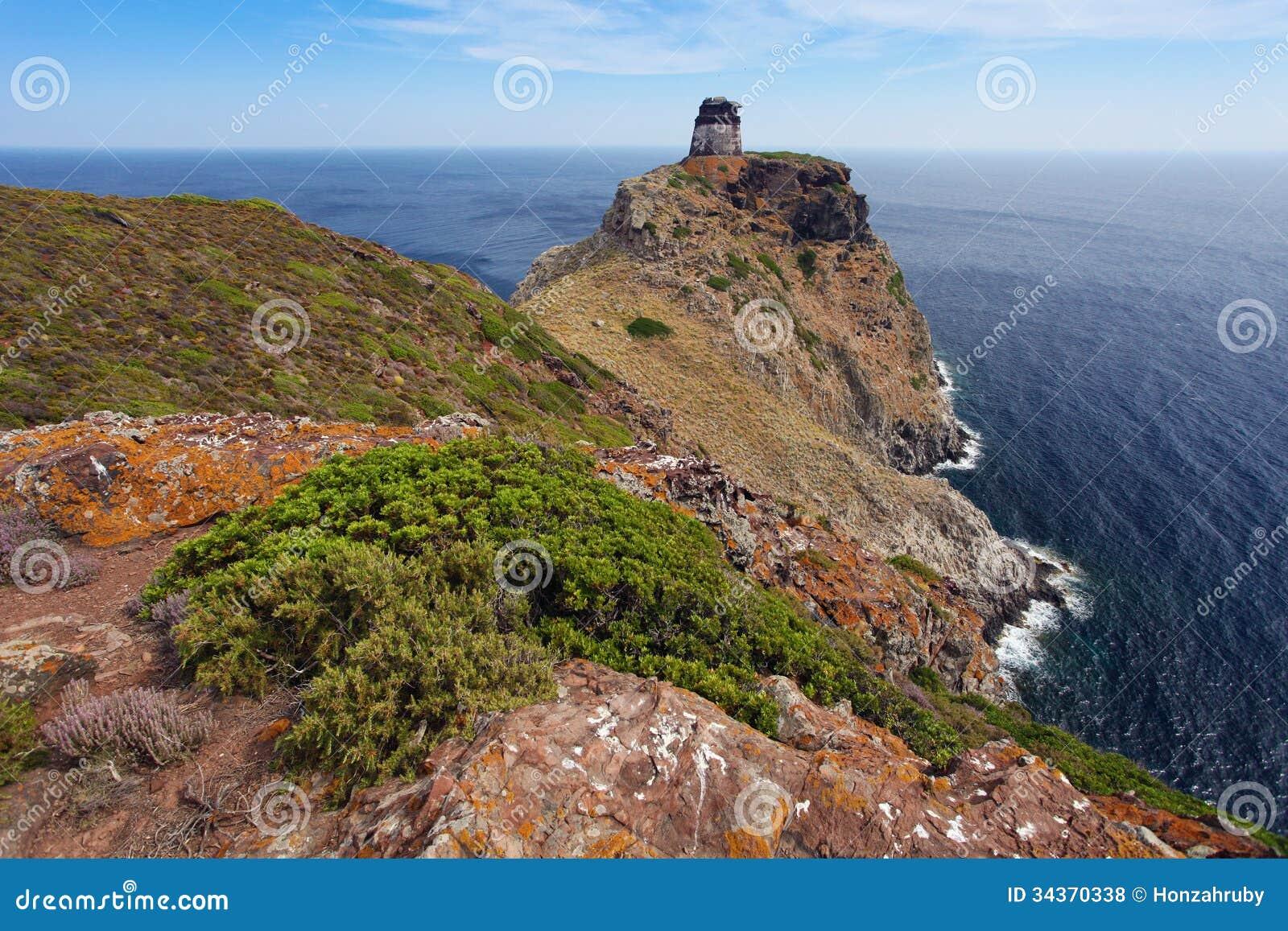 Tower on capraia island elba tuscany italy europe stock for Green italy