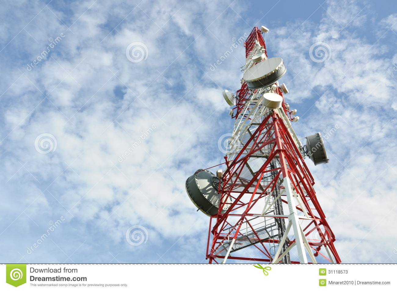 Tower With Cell Phone Antenna System Stock Image