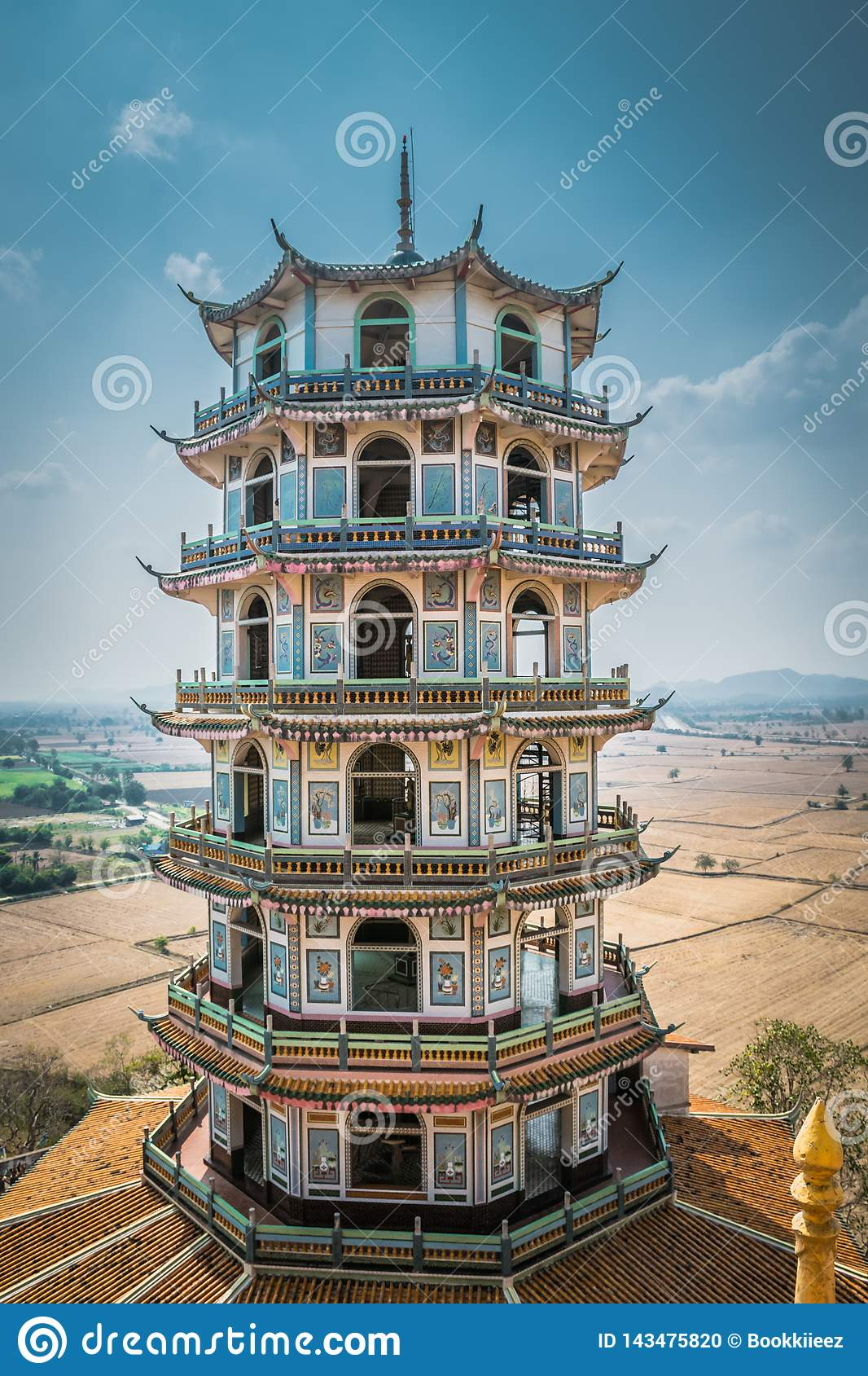 Tower with CHinese style at Wat Tham Suea or Tham Suea temple in Kanchanaburi, Thailand.