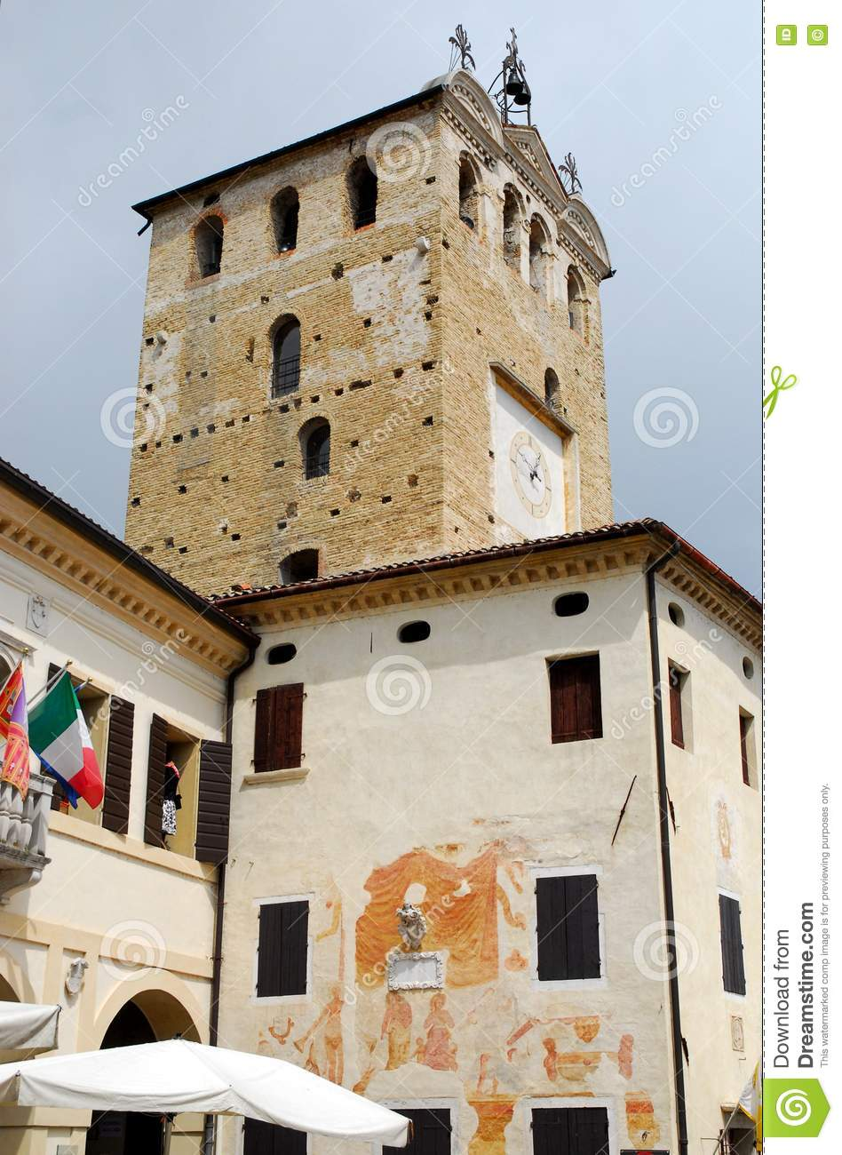 Tower and City Hall in Portobuffolè in the province of Treviso in the Veneto