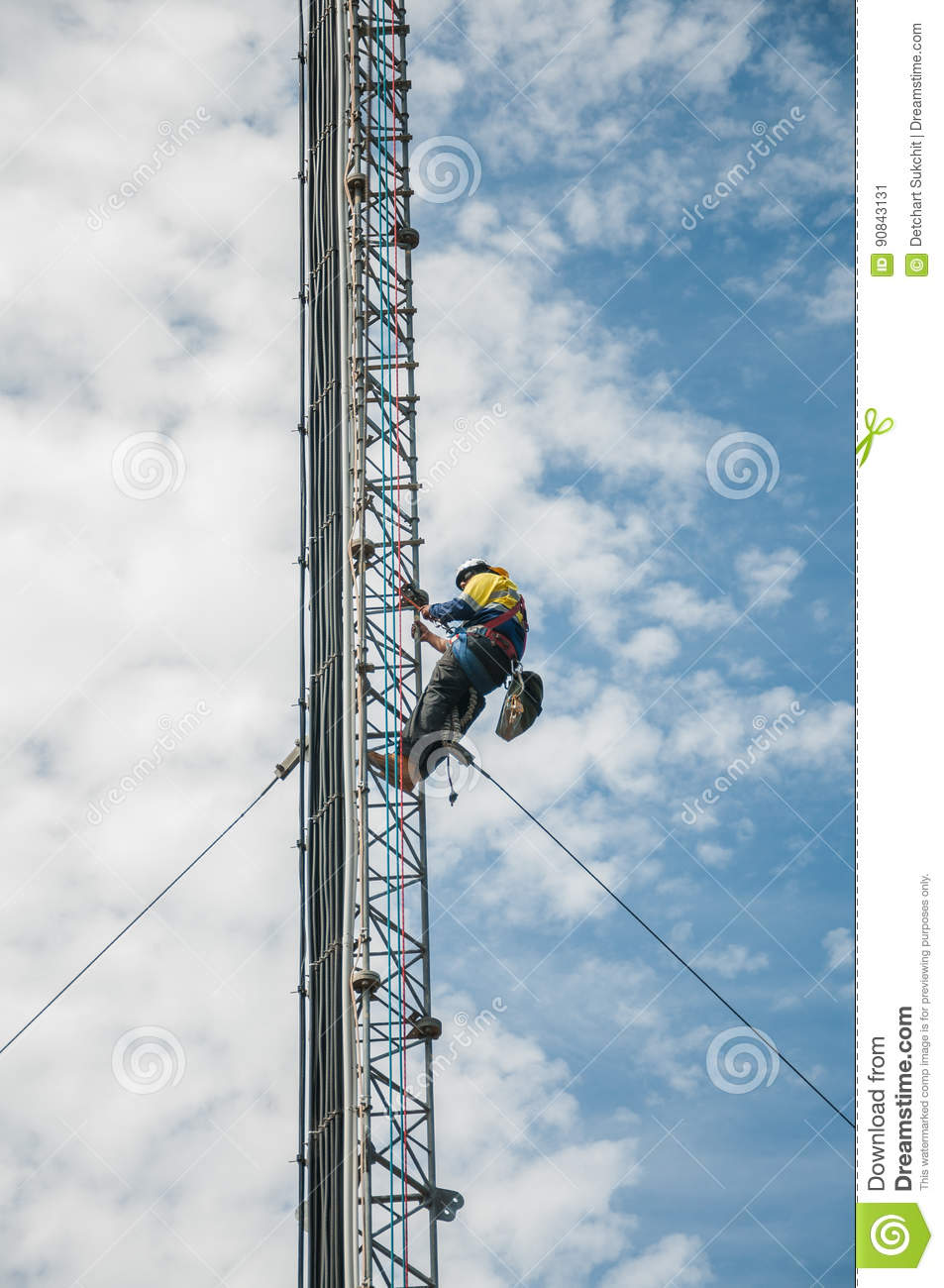 Tower Climber Stock Image Image Of Danger Blue Male 90843131