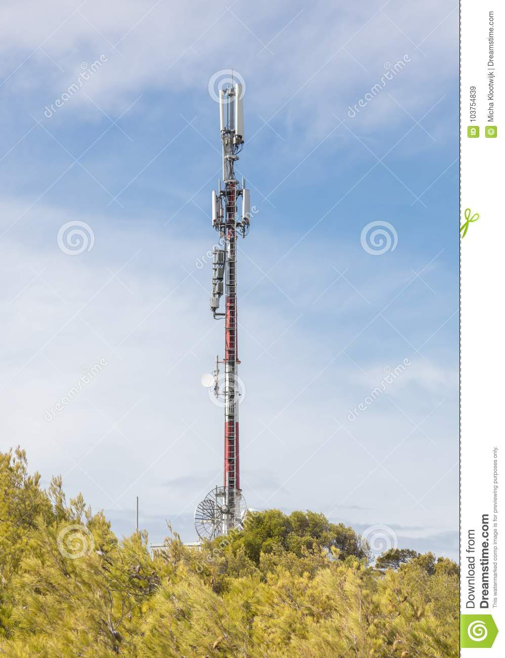 Tower Communication Sky  TV Tower On A Background Of Blue