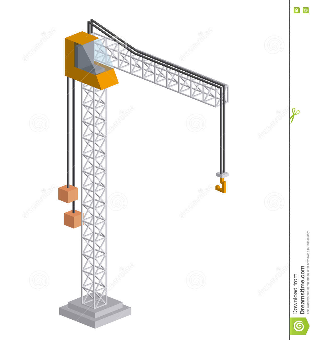 Tower Crane Design : Tower crane isometric icon stock vector illustration of