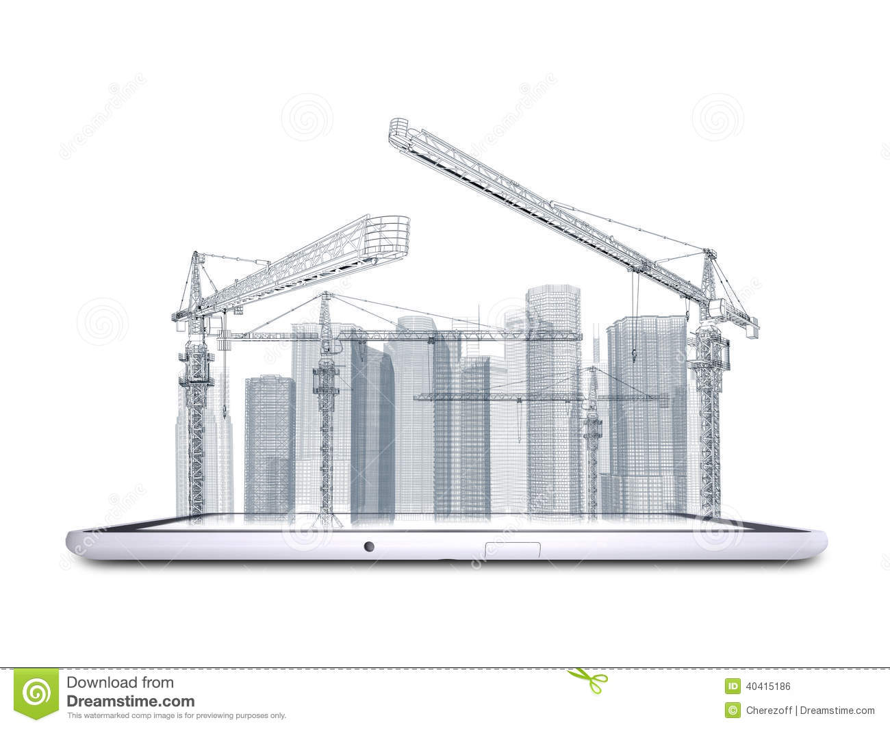 Tower Crane And Skyscrapers On The Tablet Pc Stock Photo
