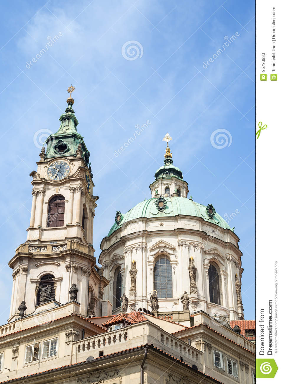 Tower and dome of St. Nicholas Church in Prague
