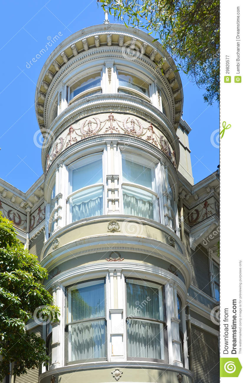 Ornate Details Of Tower In Victorian Home In San Francisco