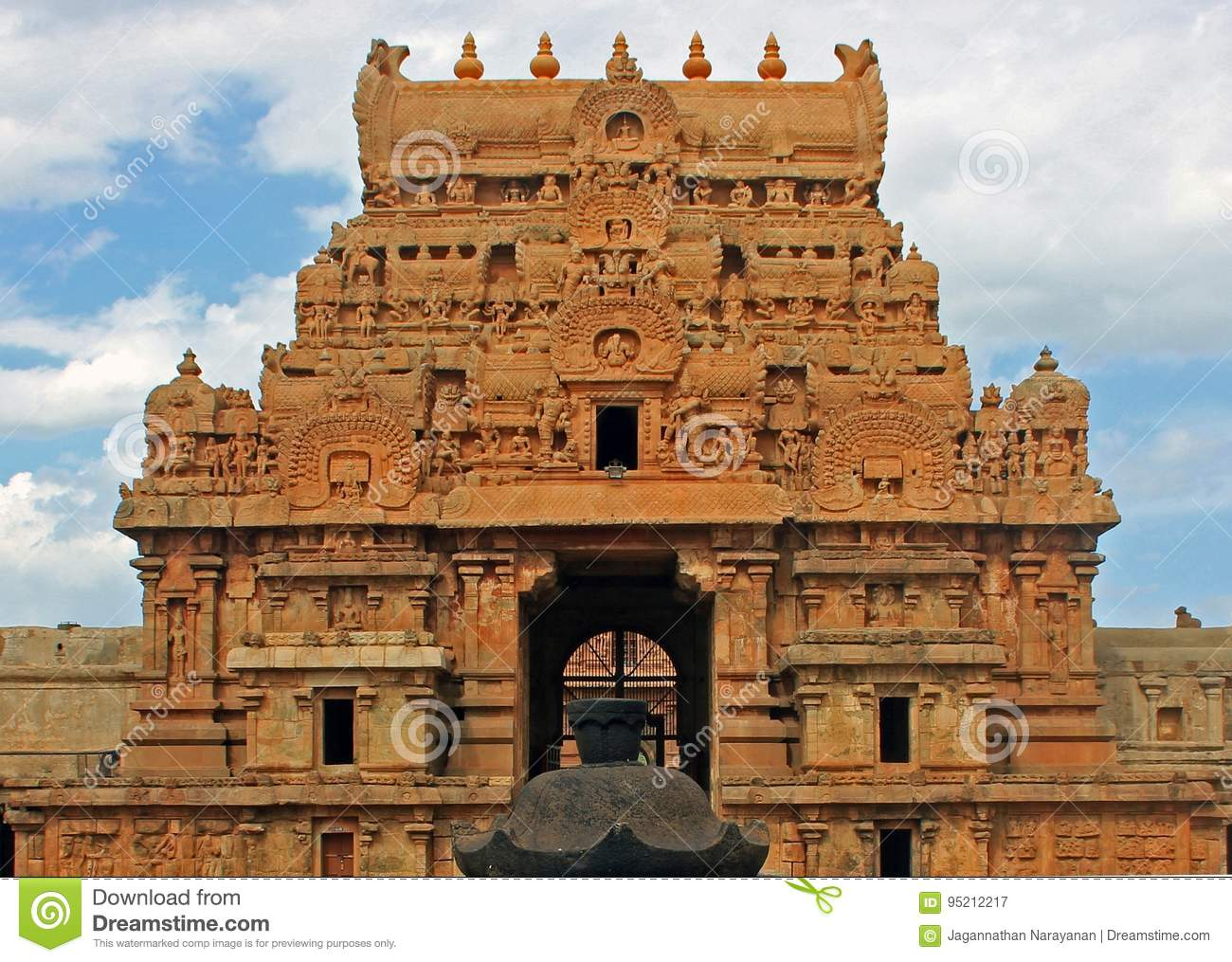 Tower At Entrance To Big Temple Thanjavur India Stock Image