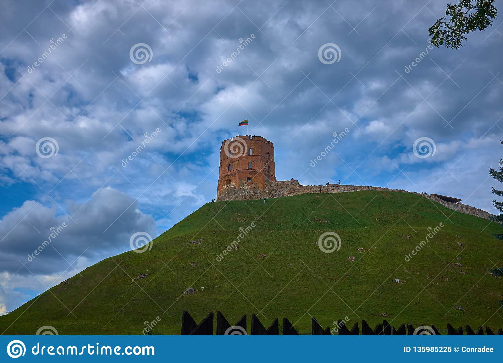 Tower Of Gediminas Gedimino Tower on hill In Vilnius, Lithuania