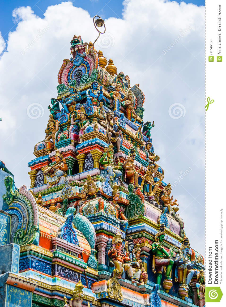 the tower of a hindu temple in galle sri lanka stock photo image