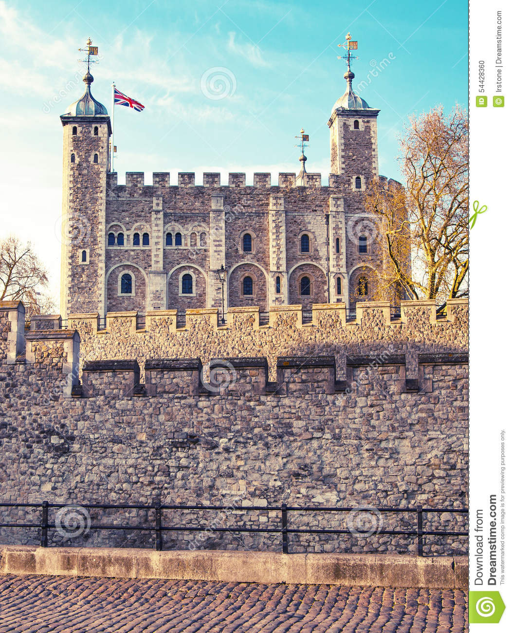Old fortress tower and tree royalty free stock photo - The house in the old franciscan tower ...