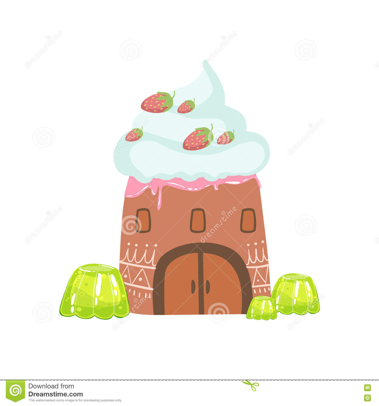 Tower Made Of Candy, Whipped Cream And Jelly Fantasy Candy Land Sweet Landscape Element