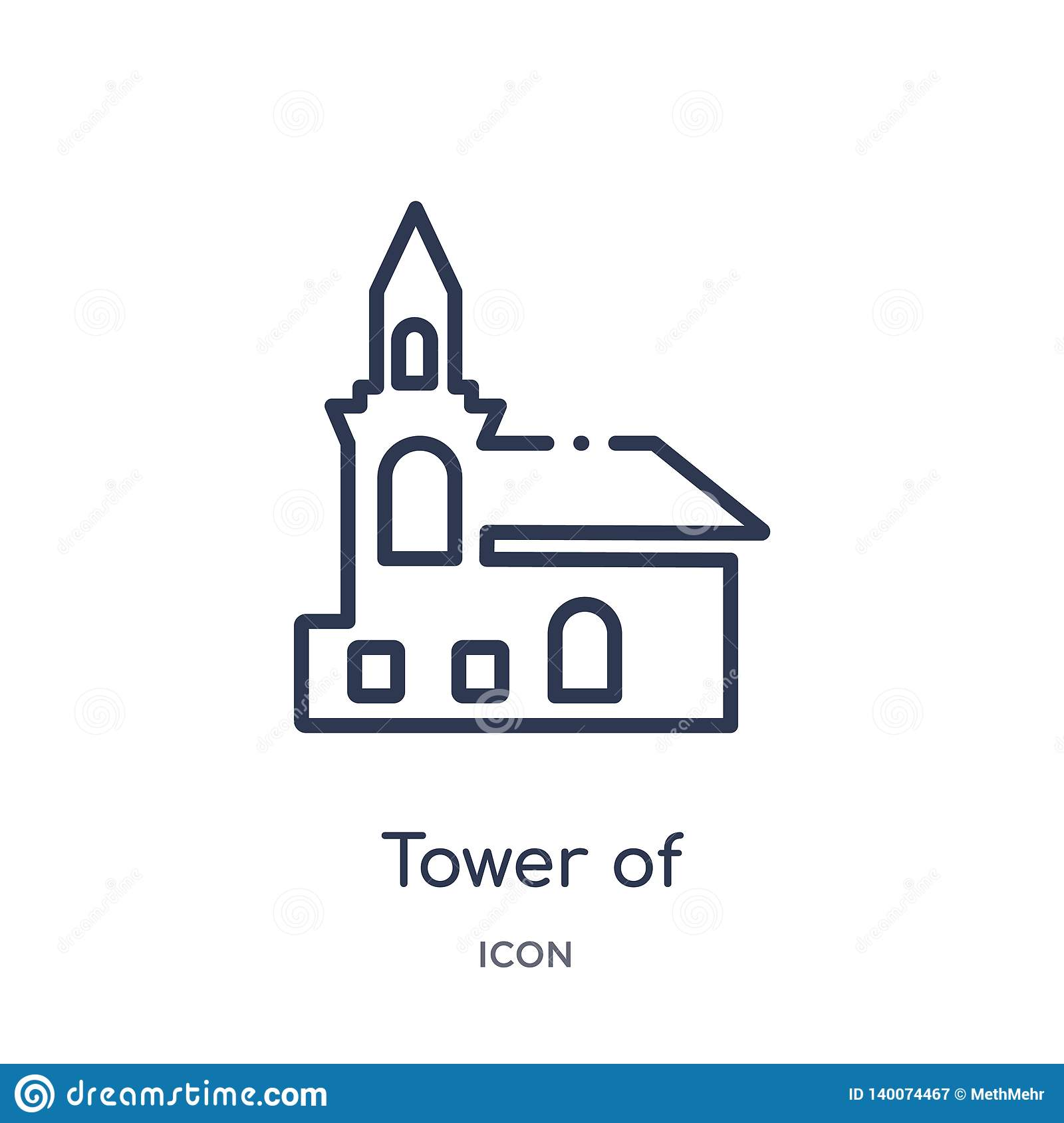 tower of nevyansk in russia icon from monuments outline collection. Thin line tower of nevyansk in russia icon isolated on white