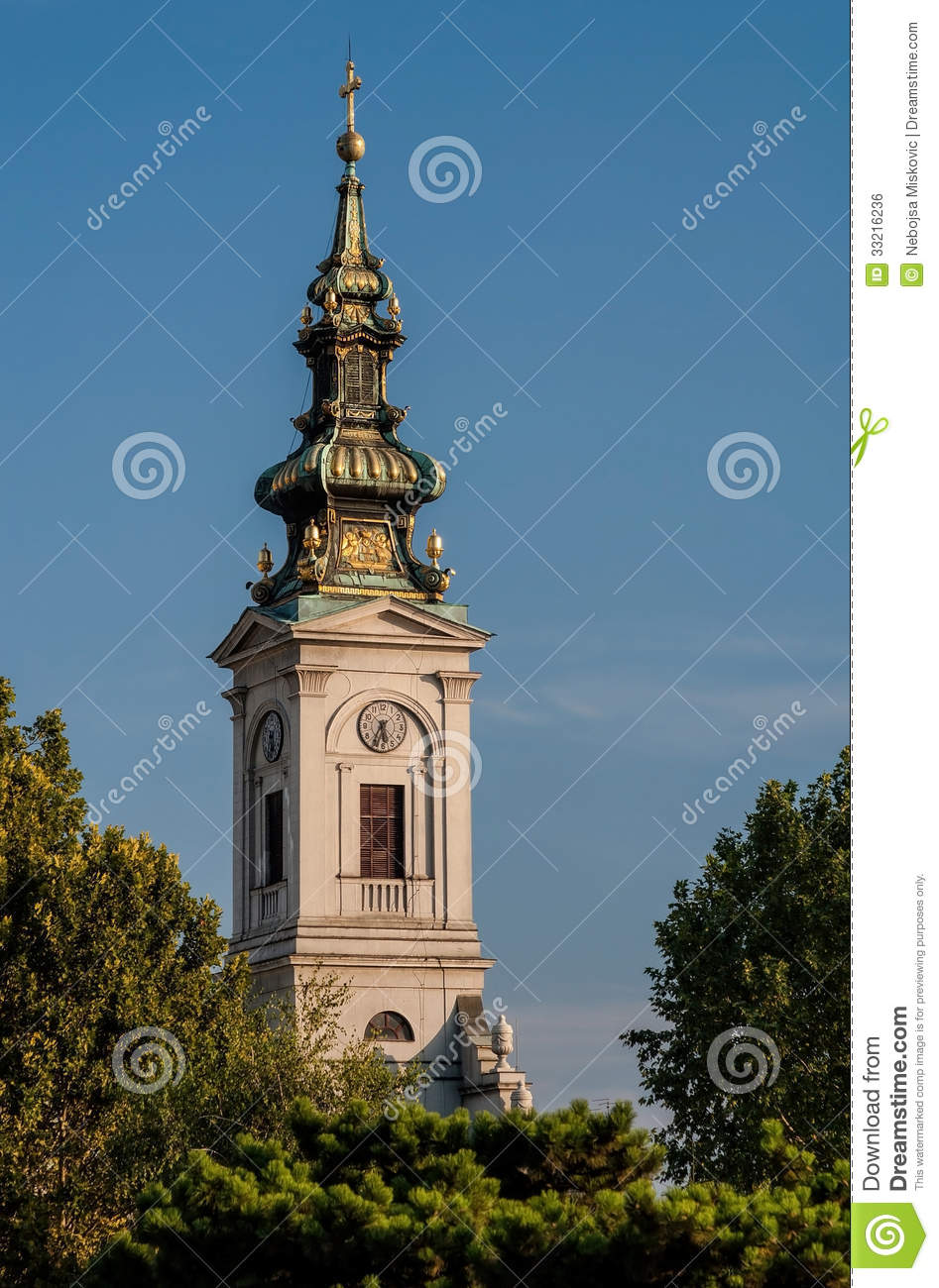Tower Of Orthodox Cathedral Saborna Crkva In Belgrade