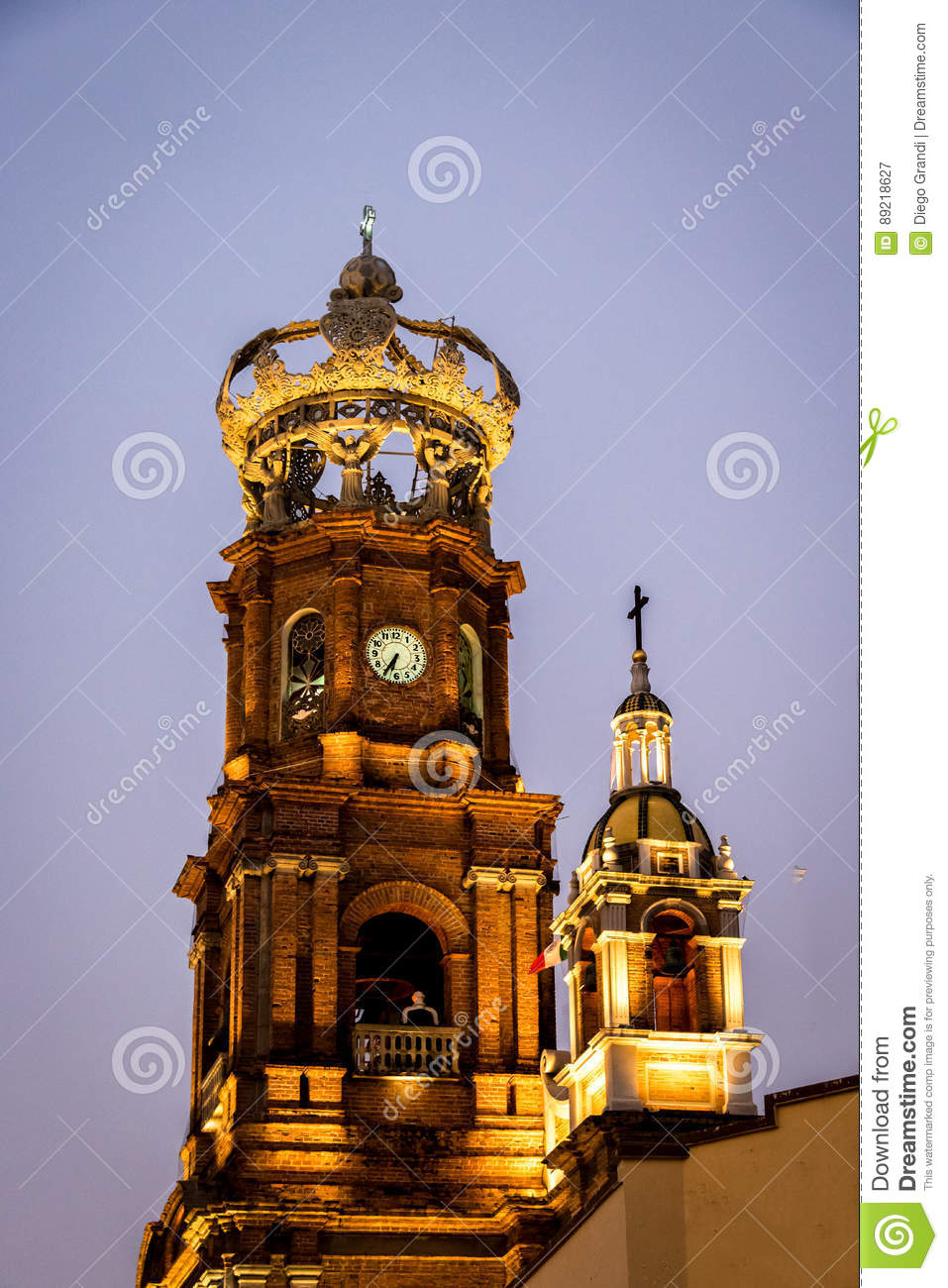 Tower of Our Lady of Guadalupe church at night - Puerto Vallarta, Jalisco, Mexico
