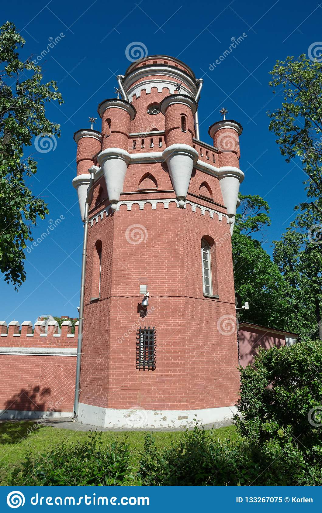 The tower of Petrovsky travel Palace in Moscow on the Leningradsky prospect, Russia